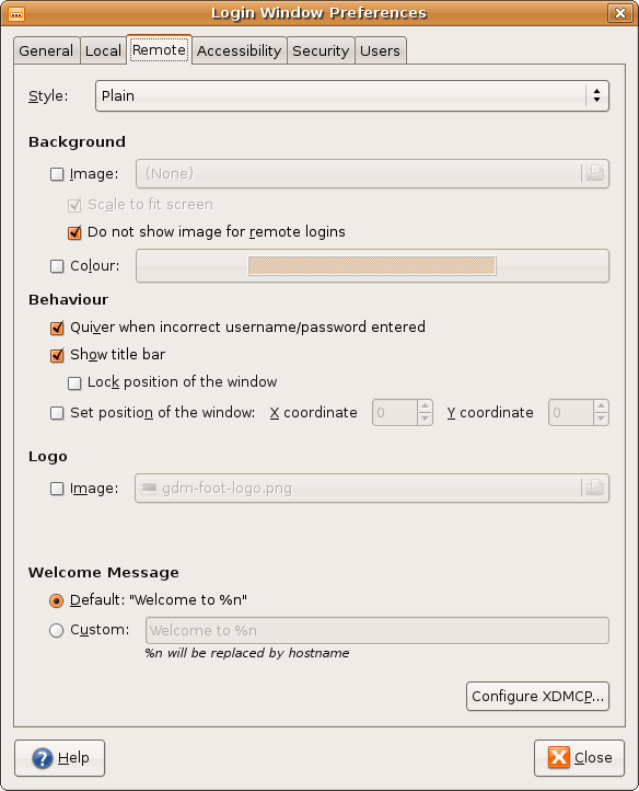 Remote Login Window Preferences