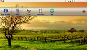 A translucent bar on your desktop lets you pick a launcher category