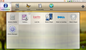 A zoom and blur effect leaves the flavour of your desktop image showing through as you click on a launcher